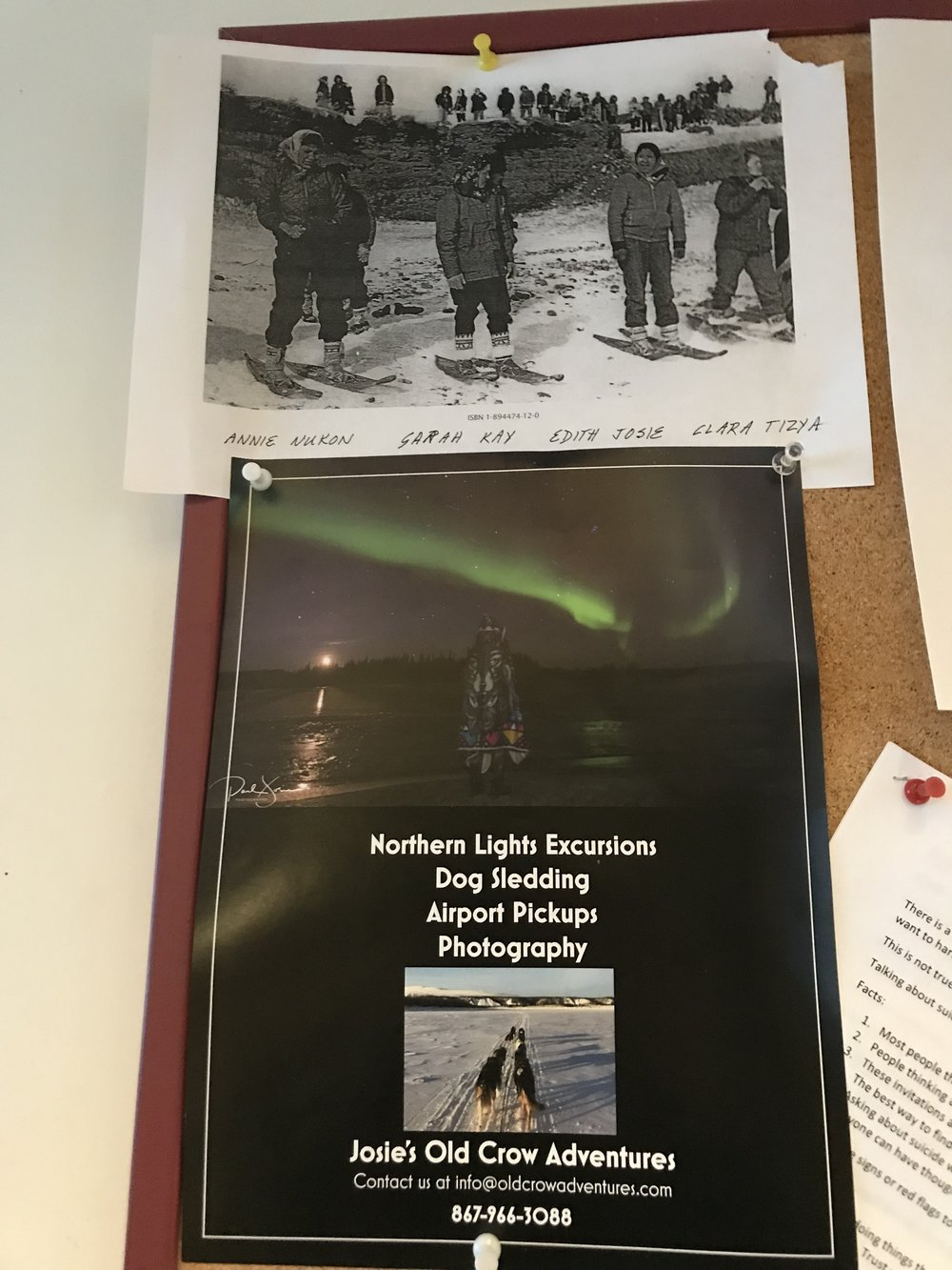Paul's advertisement plus an archival picture of Gwich'in women ready for a snowshoe race