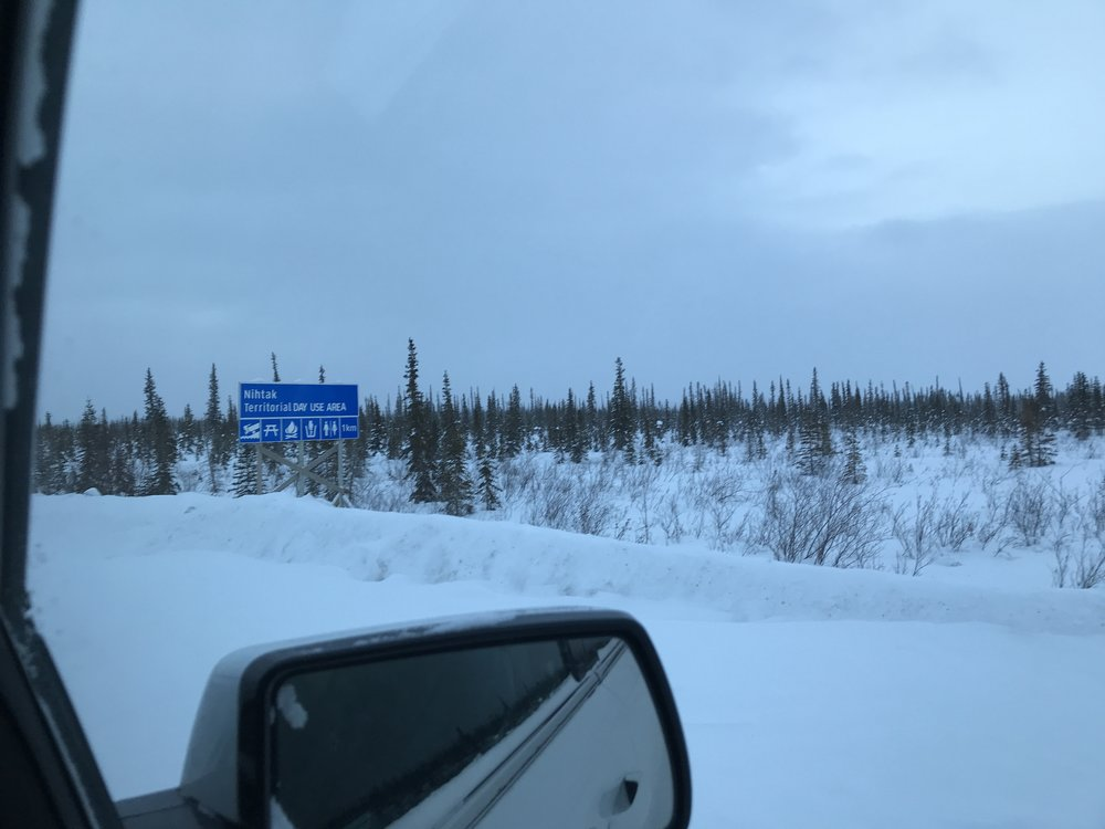 The sign on the highway…Nihtak day-use area, nestled among the small spruce trees
