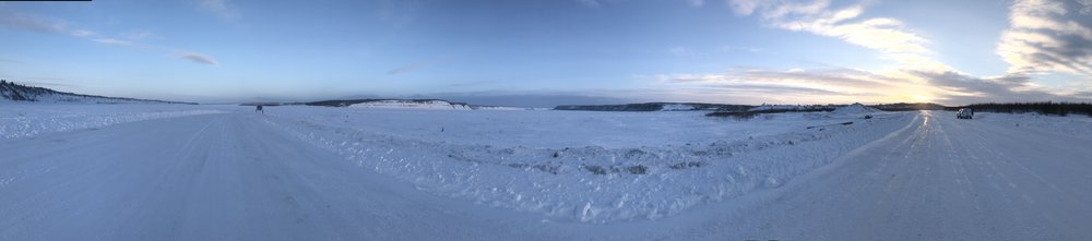 The view from the other side of the Mackenzie River ice bridge