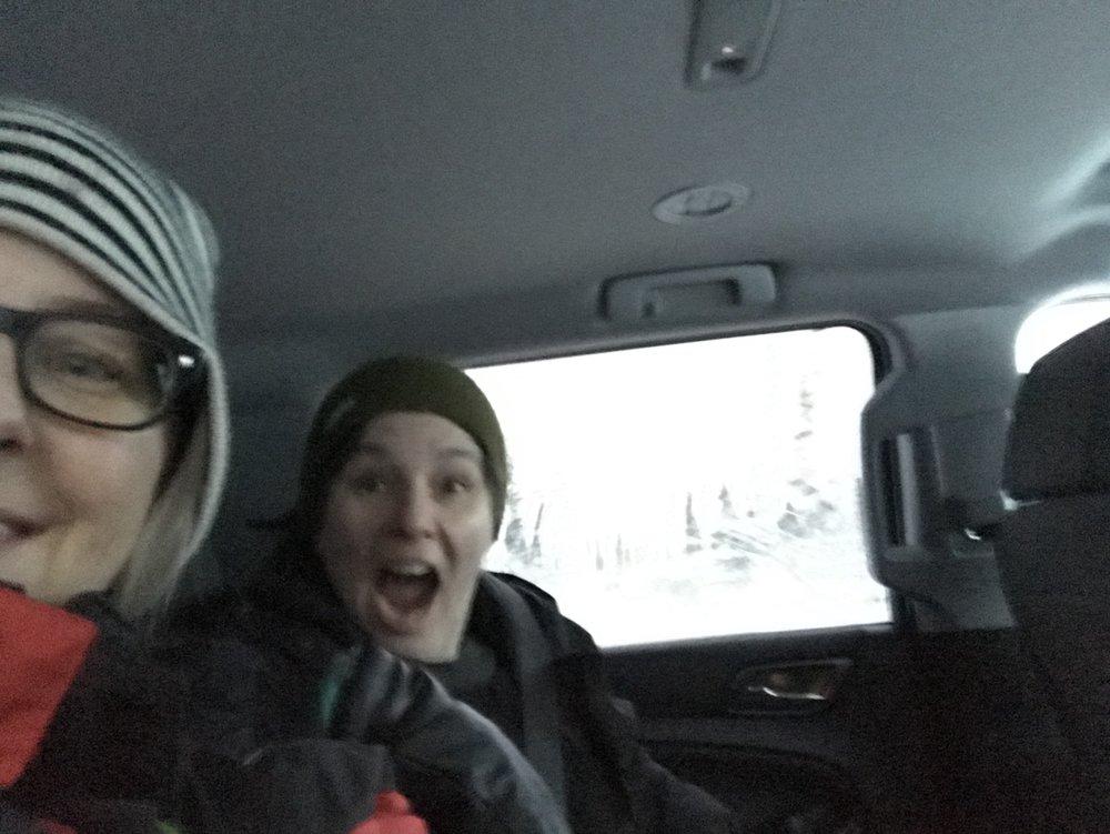 Lisa and Cheryl - the Mackenzie River ice bridge!!