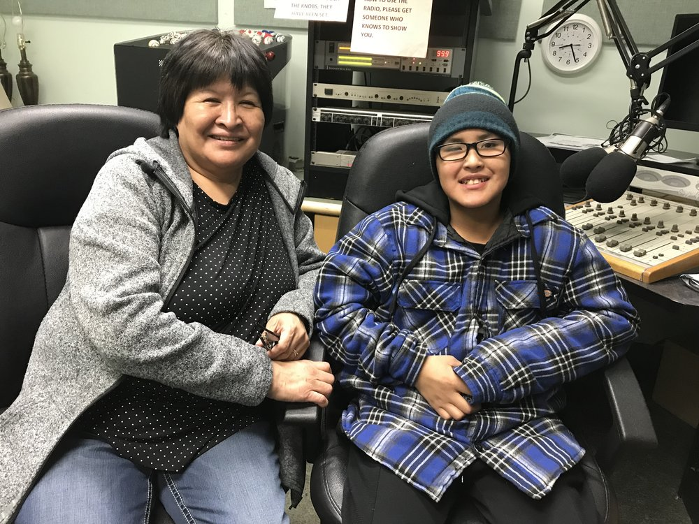 Ruby and Joel. Ruby has young people join her for her radio shows about the Gwich'in language