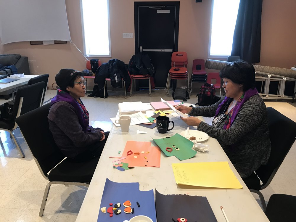 Mary Jane helps Ruby with Gwich'in pronunciation