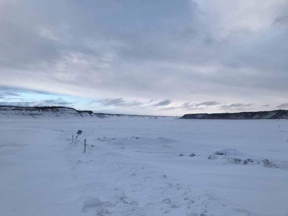 The ice bridge…hard to tell where to drive on it…