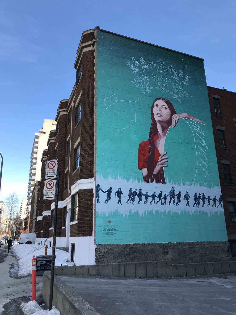 Alanis Obomsawin mural made by Meky Ottawa