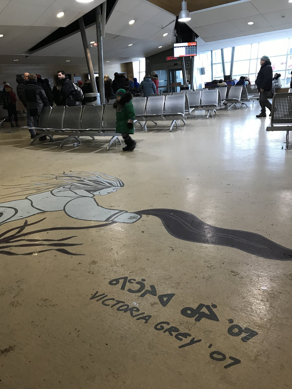 Beautiful Artwork in airport…Sedna (Inuktitut: ᓴᓐᓇ, Sanna) is the  goddess  of the  sea  and marine animals in  Inuit  mytholog