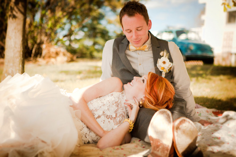Seattle vintage wedding bride and groom outdoor