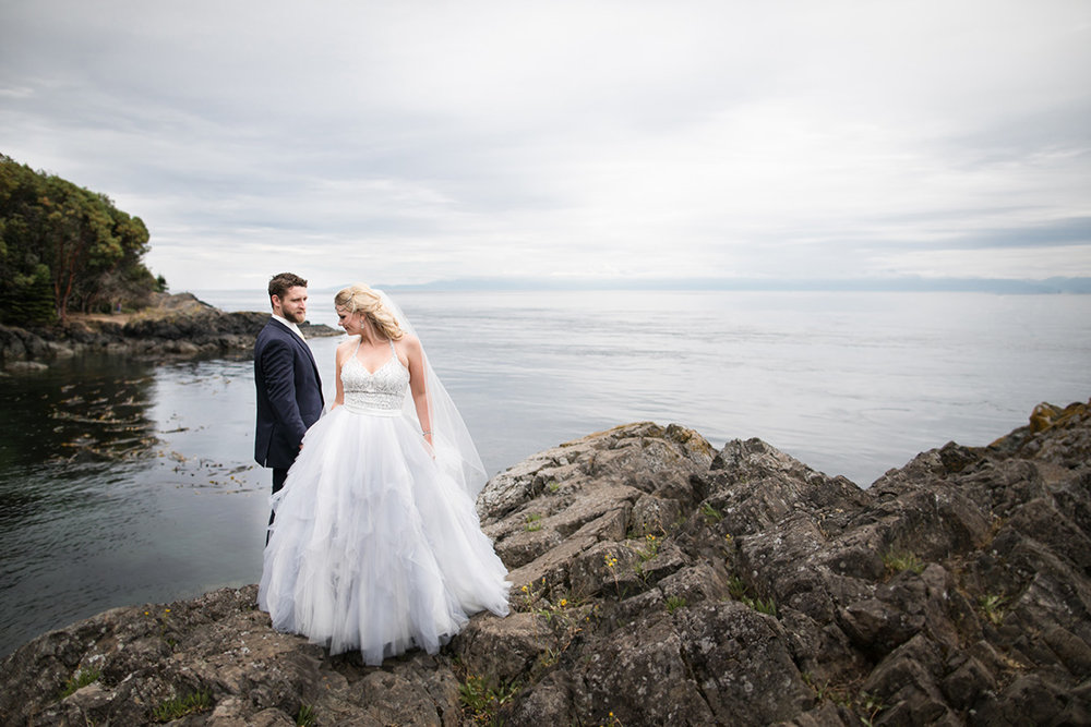 San Juan Island Wedding Bride and Groom at Lime Kiln