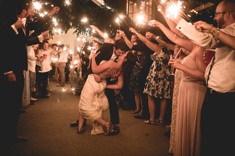 Woodinville Wedding Reception Sparkler Bride and groom