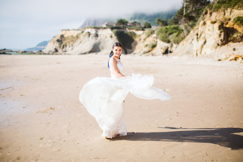 Oregon Coast Beach Bride