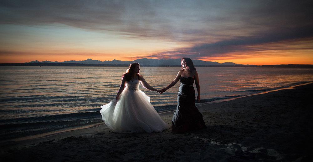 Seattle Golden Gardens Sunset Wedding Same Sex