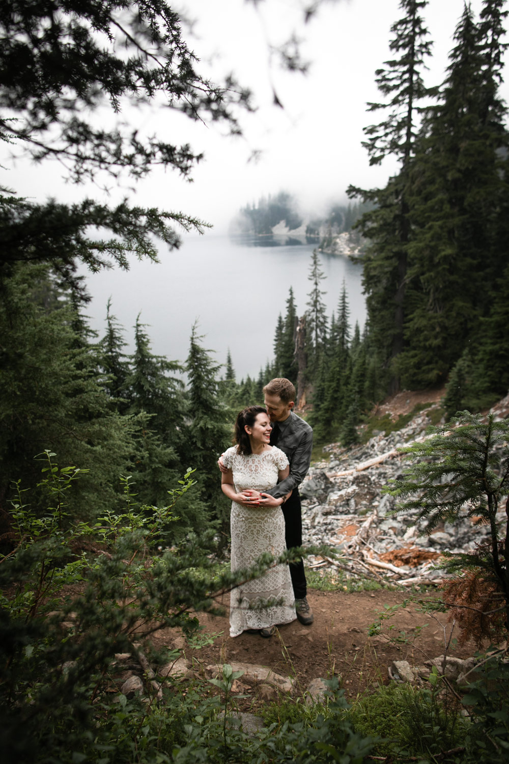 Seattle Elopement Snow Lake Wedding Bride and Groom