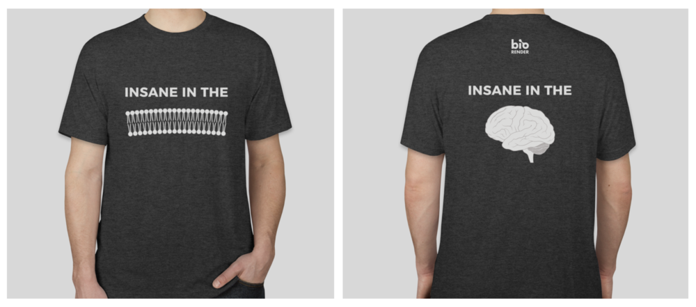 "BioRender ""Insane in the Membrane"" T-shirts, up for grabs by the contest winners!"
