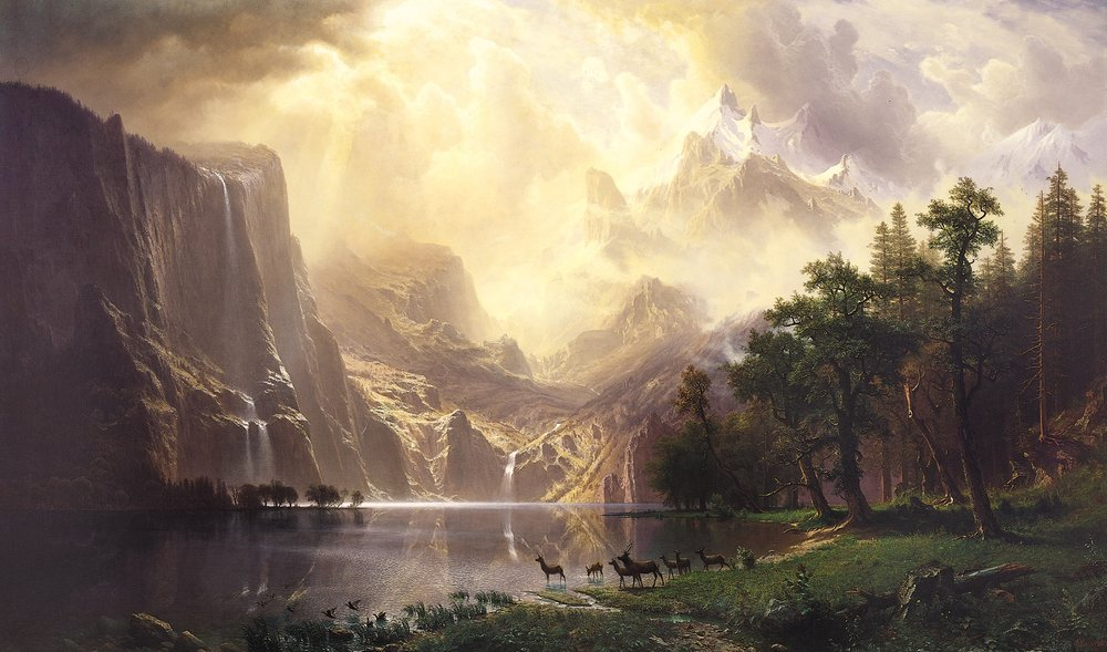 Albert Bierstadt, Among the Sierra Nevada, California.  1868.  Painting Courtesy Wikimedia Commons.
