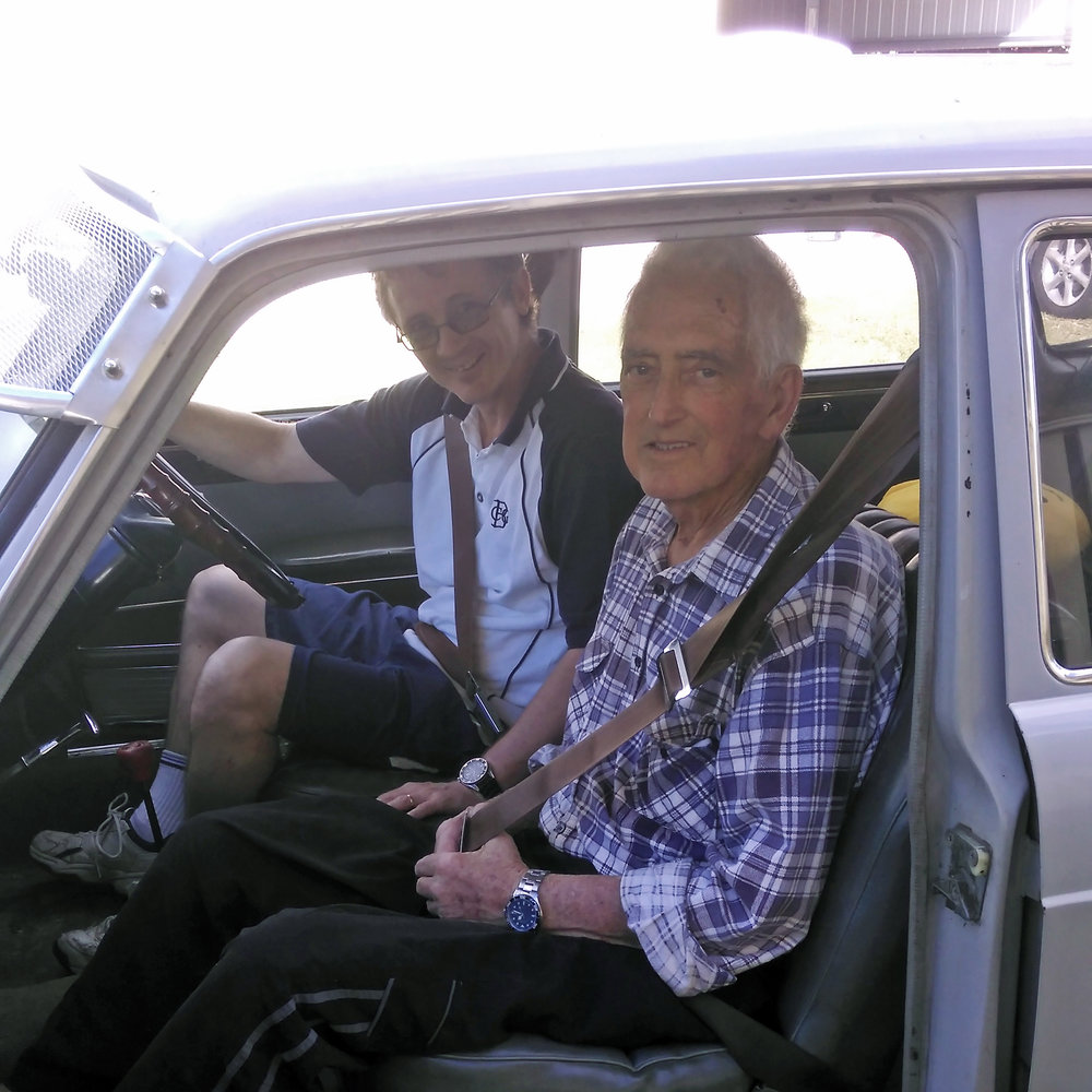 Me and Dad, in my Austin, after our drive – 20 June 2016.