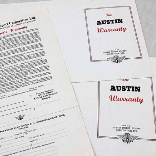 Austin Warranty Cards $2