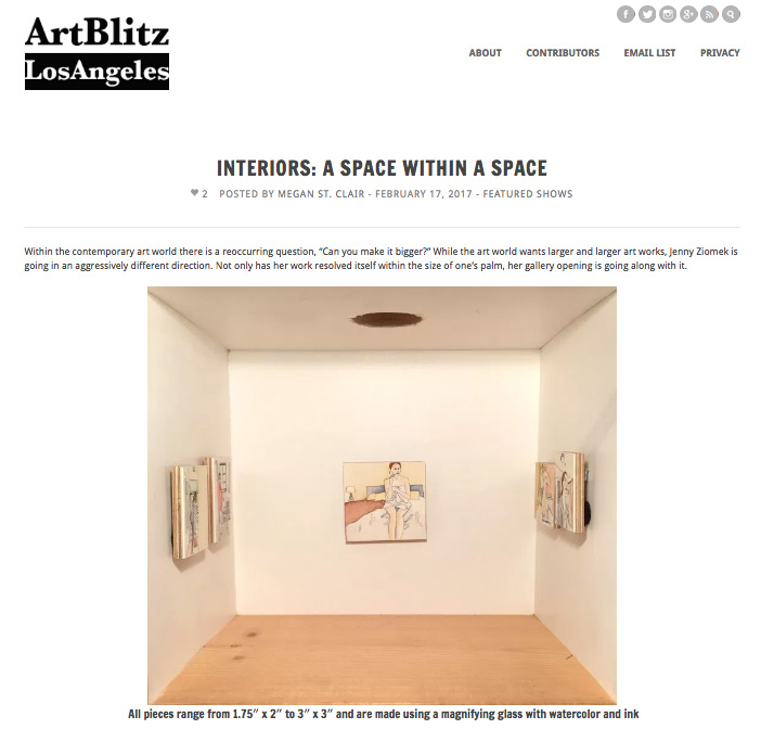 Writeup of show  Interiors  in  Art Blitz LA     http://artblitzla.com/interiors-a-space-within-a-space/