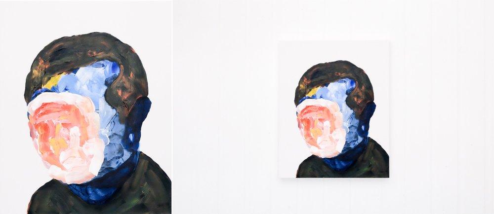 Self portrait no. 4,2017, acrylic on canvas, 405mm x 510mm.