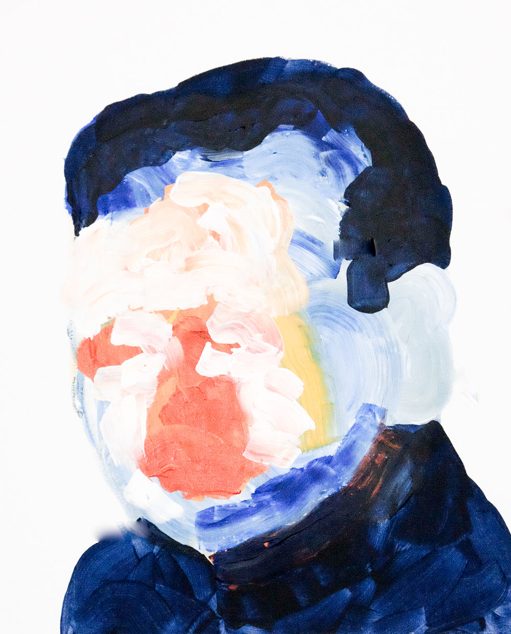 Self portrait no. 1,2017, acrylic on canvas, 405mm x 510mm.