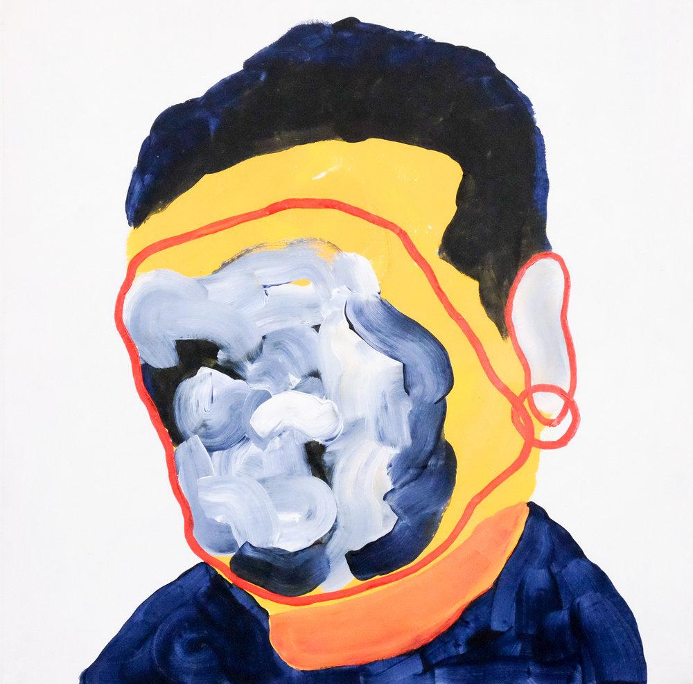 Self portrait no. 6,2017, acrylic on canvas, 405mm x 510mm.