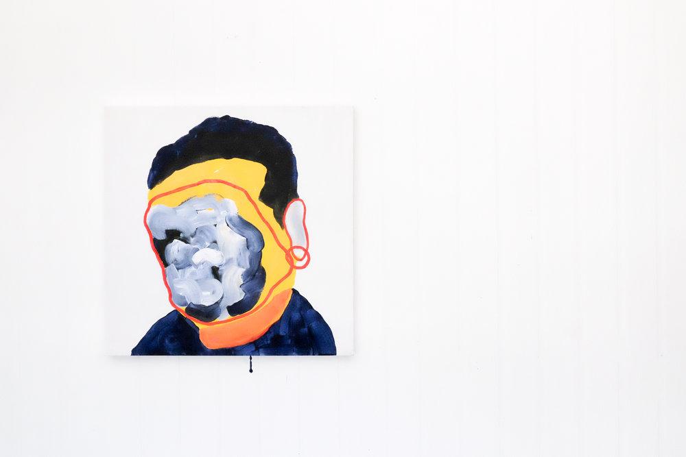 Self portrait no. 5,2017, acrylic on canvas, 405mm x 510mm.