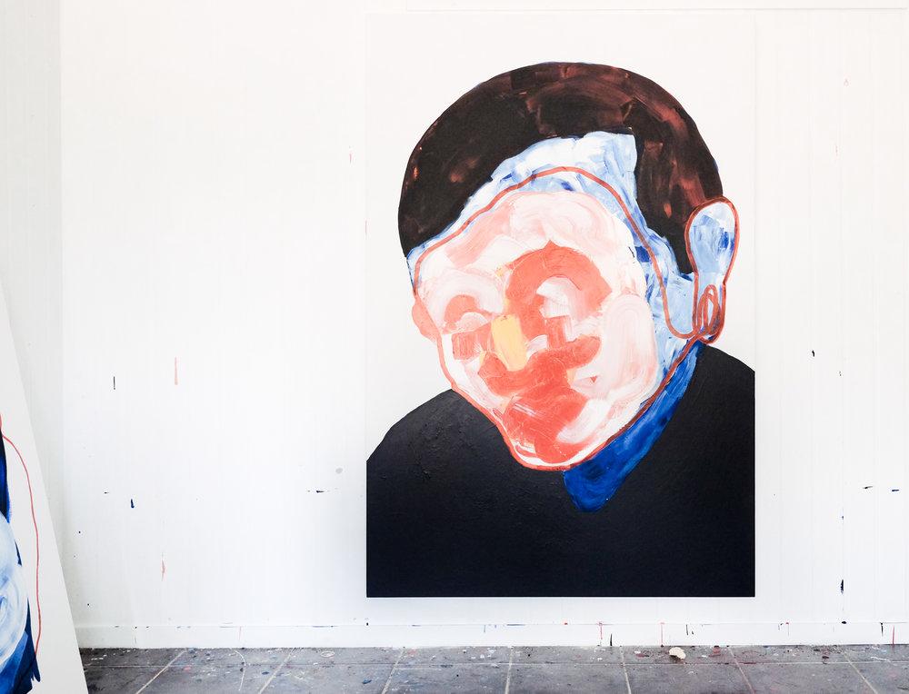Self portrait no. 6,2017, acrylic on linen, 1215mm x 1825mm.