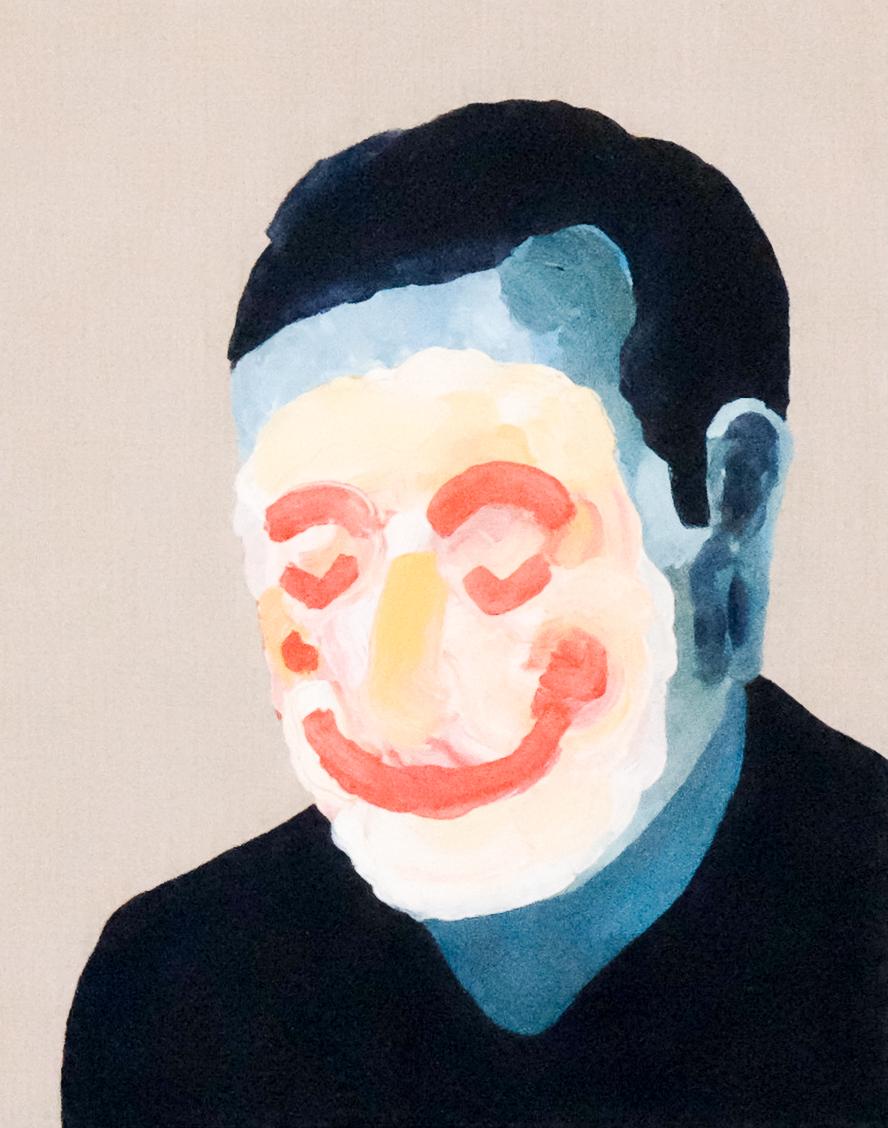 Self portrait no. 7,2017, acrylic on linen, 405mm x 510mm.