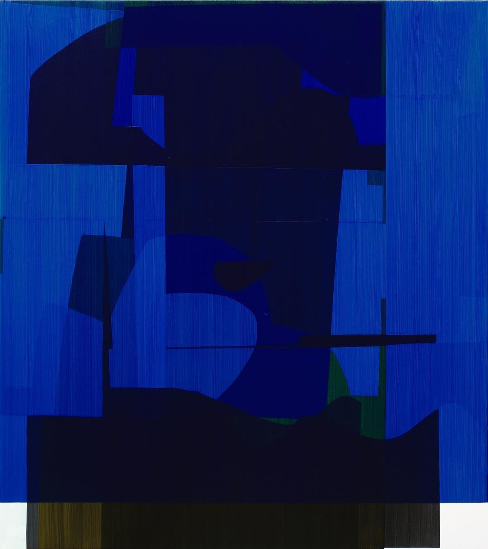 Simon Degroot, Overlay Blue, 2018, oil on canvas, 138 x 123cm.