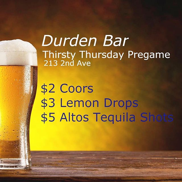 Tonight! Best pregame around town. From 9-11pm come start your night off right with some $2 Coors, $3 Lemon Drops And $5 Altos Tequila shots! $5 Absolut Cocktails all night long.