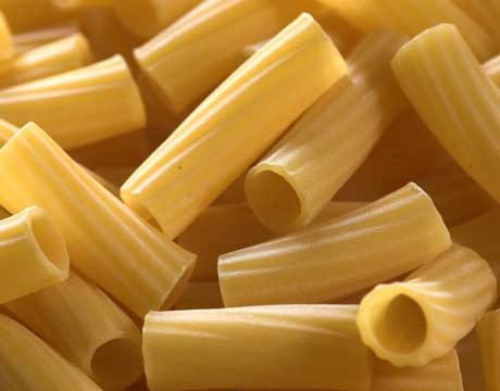 RIGATONI: Tube-shaped pasta of varying diameters and lengths.