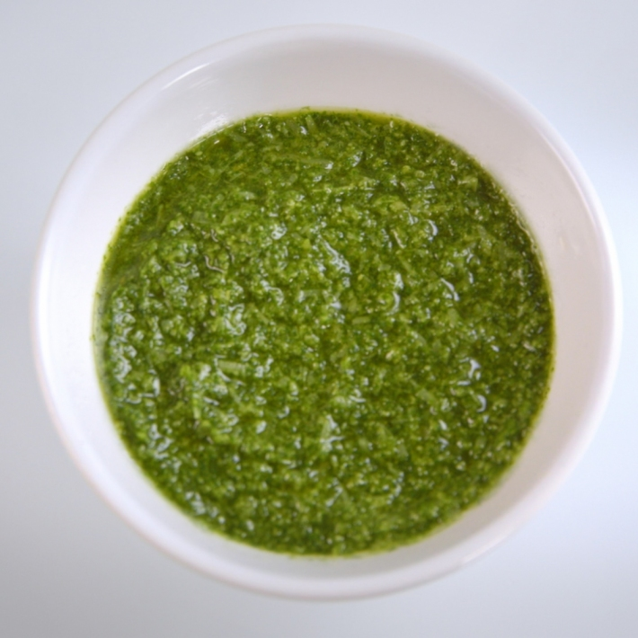 PESTO: Fresh, hand-cut basil makes this refreshing green sauce a favorite staple. *DOES NOT CONTAIN PINE NUTS*