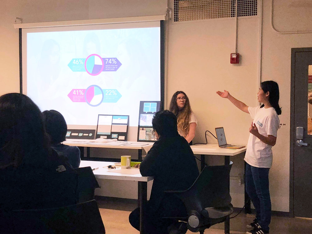 The re:mind team presented the campaign to a panel of judges and the class.