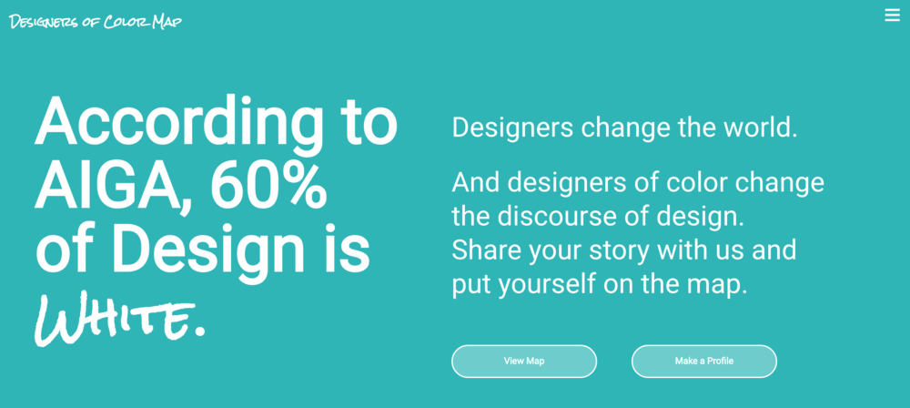 Screenshot and link to the Designers of Color landing page