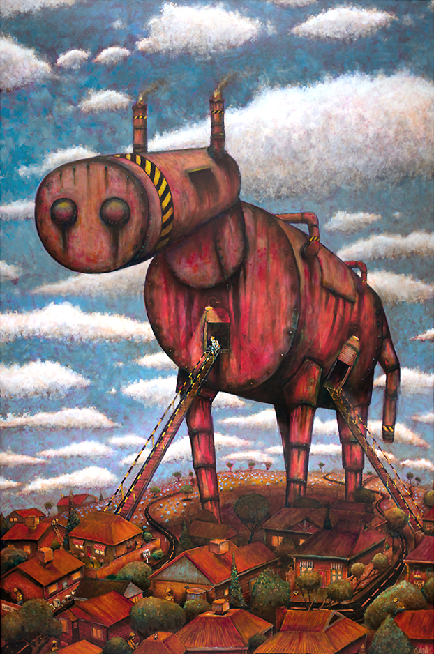 The Trojan Horse (oil on board)