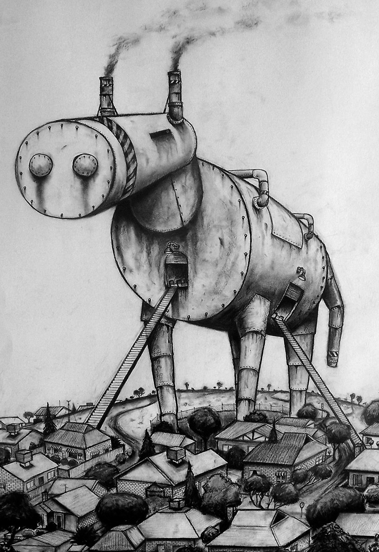 The Trojan Horse (charcoal on paper)