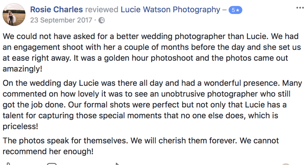 Some of my lovely wedding client reviews.