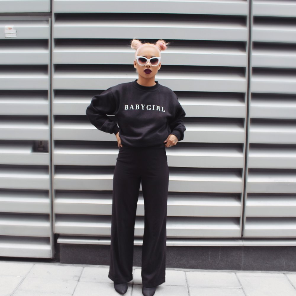 Jacket| Cimone  Trousers| Vintage  Boots| Miss Pap    Jumper| @Catsgotthecream    Shades| @Catsgotthecream