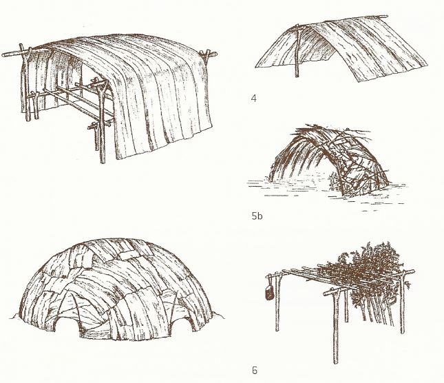 Wik repertoire of ethno-architecture. Reference imagery from Paul Memmot's Gunyah, Goondie & Wurley. Further literature in the Dawson Folk museum described huts as noted above particular to the area.