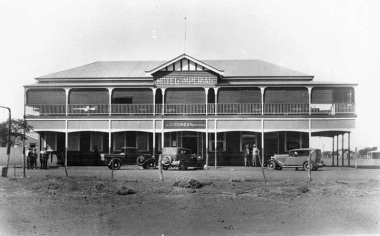 The original Hotel Imperial, one of the first buildings in Quilpie. Generous verandahs and plenty of space on the street for an informal catch up. Again we see the aspiration of past ages manifest in Architecture.