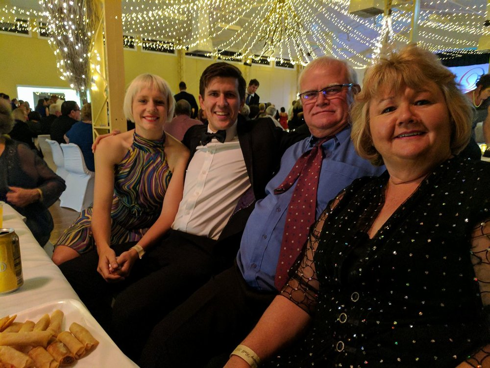 """The wonderful Deb and Ben Hall at the ball who looked after us in Quilpie. When Owen tried to dip Deb on the dance floor she said...""""don't you dare, I've had two hip replacements! I'm not getting a third!!"""" A fantastic night."""