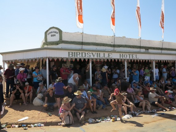 Birdsville in 'drought'...note the large increase in patrons at the hotel as well as the underage drinker, center.