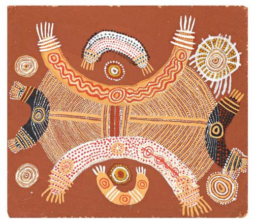 "An Artists representation of the ""two boys dreaming"" story that acts as a guide to cross the Simpson desert, connecting major sites within in area. These days, one is warned it is 4wd access ONLY."