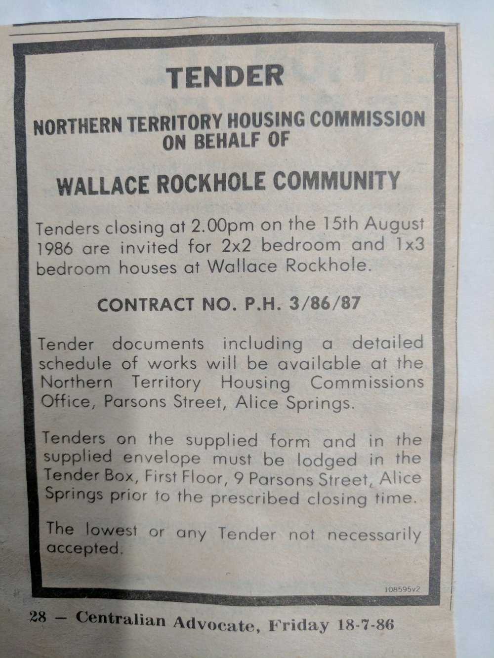 Newspaper snippet from the Wallace Rockhole archives, 1986. Design unknown.