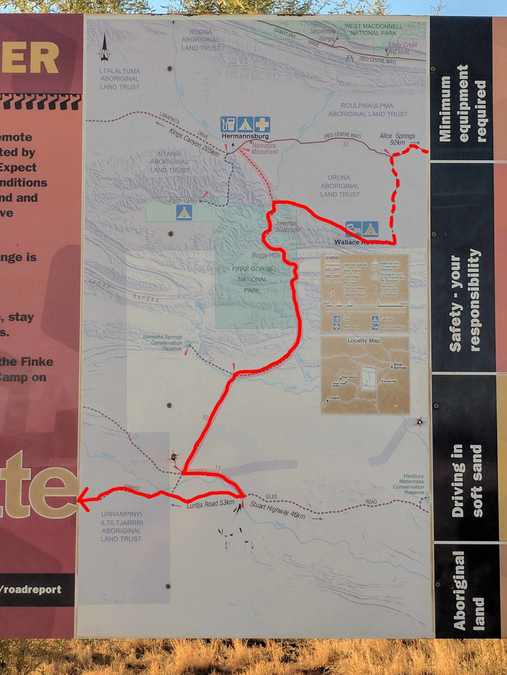A cleverly edited map that shows the route we took from Wallace Rockhole. Following the bends of the beautiful Finke gorge and cutting across Desert Oak (mammoth sized) scattered sandhills.