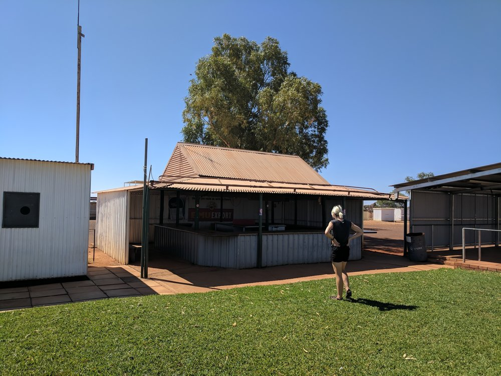 The bar at the Meekatharra racecourse. A cracker of building that is almost two thirds bar!