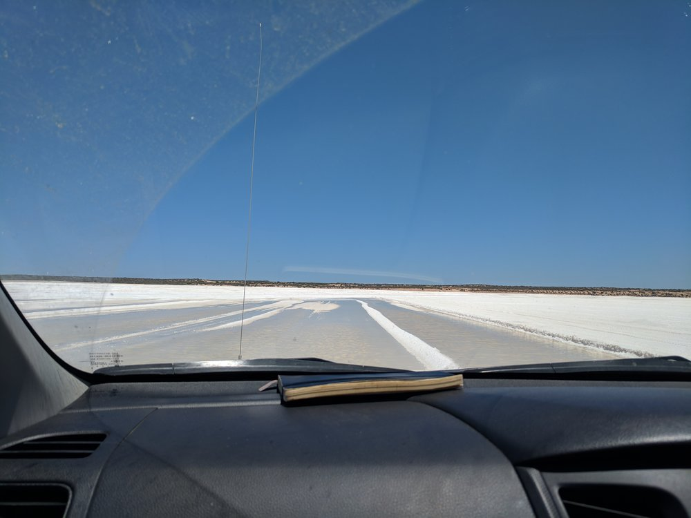 Below the salt is 'grown a floor'. Driving on a harvested pond, the floor is all that's left to start growing salt again