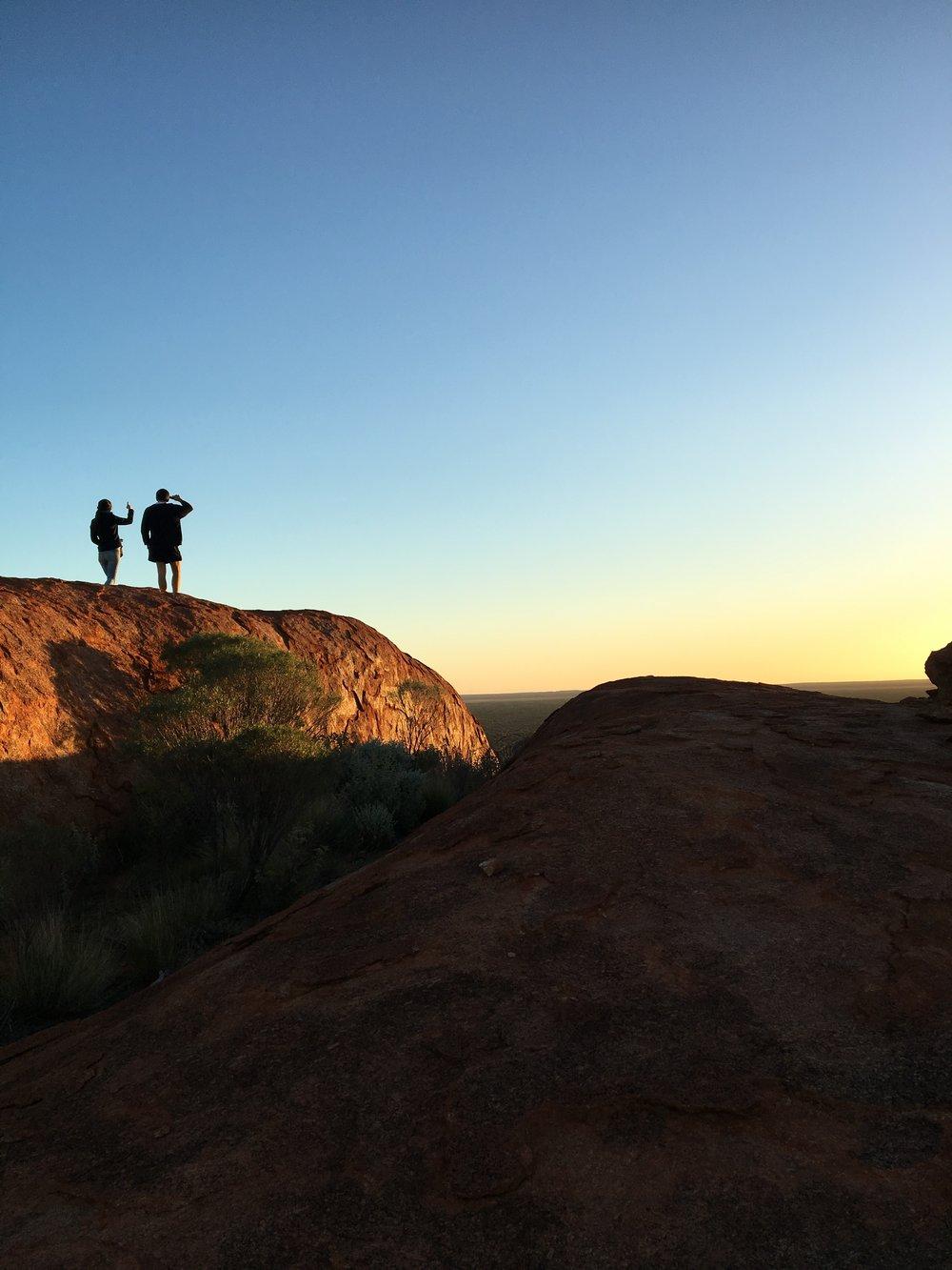 Frances & Owen atop Budara at sunset