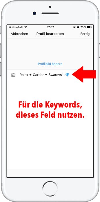 Instagram Profilname mit Keywords optimieren