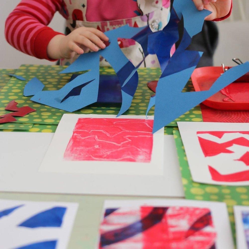 Kids graphic art birthday workshop, little art kids, Berlin kindergeburtstag