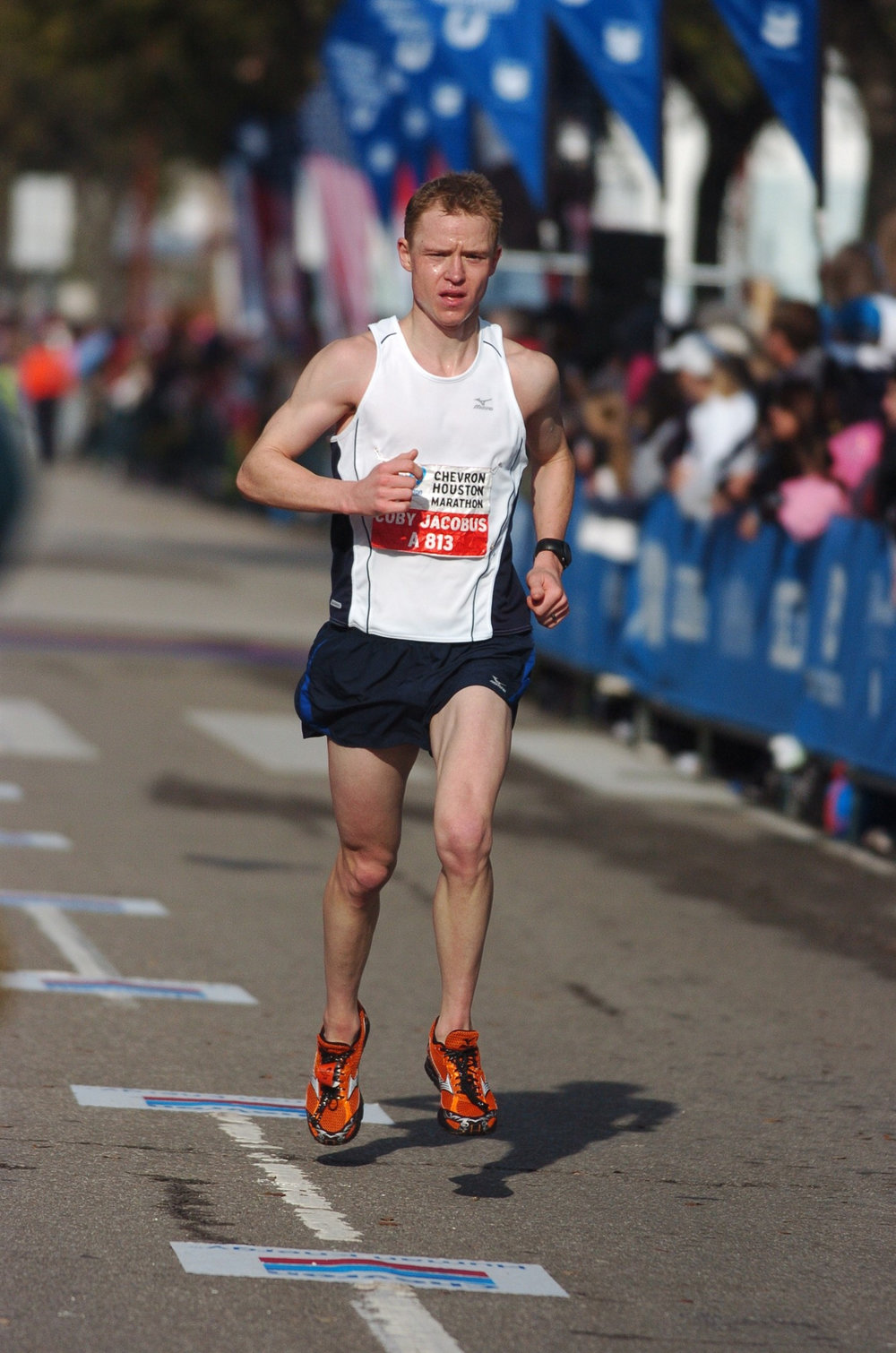 Coming down the homestretch at the Houston Marathon in 2010 - About 20 months following surgery.