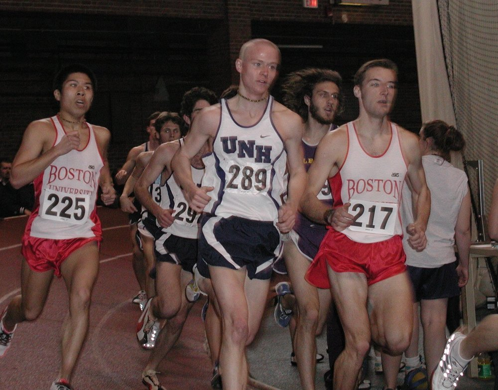 Coby running the 5k at the 2002 American East Indoor Conference Championships.